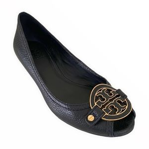 Tory Burch Black And Gold Wedges Sandals Size 8M